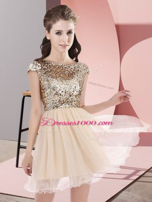 Cap Sleeves Mini Length Sequins Zipper Dama Dress with Champagne