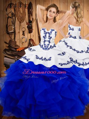 Chic Satin and Organza Sleeveless Floor Length Sweet 16 Dresses and Embroidery and Ruffles