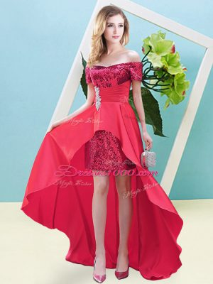 Suitable Coral Red Off The Shoulder Neckline Beading Homecoming Dress Long Sleeves Lace Up