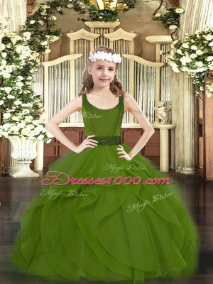 Stylish Beading and Ruffles Pageant Dress Wholesale Olive Green Zipper Sleeveless Floor Length
