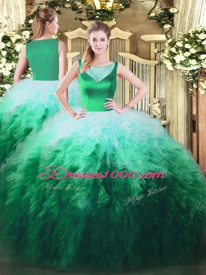 Sleeveless Floor Length Beading and Ruffles Side Zipper Quinceanera Gown with Multi-color