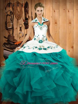 Teal Halter Top Neckline Embroidery and Ruffles 15 Quinceanera Dress Sleeveless Lace Up