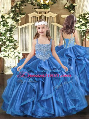 Baby Blue Lace Up Straps Beading and Ruffles Pageant Dress for Teens Organza Sleeveless
