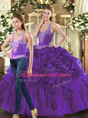 Discount Purple Sleeveless Beading and Ruffles Floor Length Ball Gown Prom Dress