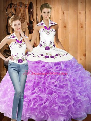 Elegant Lilac Quince Ball Gowns Military Ball and Sweet 16 and Quinceanera with Embroidery Halter Top Sleeveless Lace Up