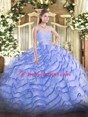 Hot Selling Blue Lace Up Sweet 16 Dresses Beading and Ruffled Layers Sleeveless Brush Train