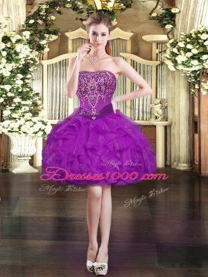 Purple Ball Gowns Organza Strapless Sleeveless Beading and Ruffles Mini Length Lace Up Party Dresses