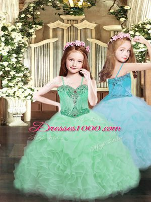 Simple Organza Spaghetti Straps Sleeveless Lace Up Beading and Ruffles and Pick Ups Party Dress in Apple Green