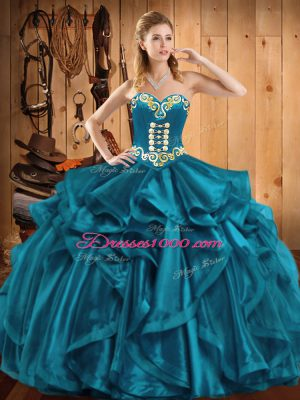 Superior Teal Sleeveless Organza Lace Up Vestidos de Quinceanera for Military Ball and Sweet 16 and Quinceanera