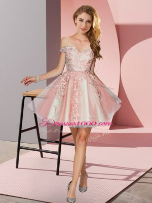 Peach A-line Appliques Bridesmaid Dress Zipper Tulle Sleeveless Mini Length