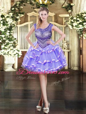 Inexpensive Lavender Juniors Party Dress Prom and Party with Beading and Ruffled Layers Scoop Sleeveless Zipper