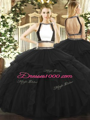 Black Halter Top Backless Ruffled Layers Quinceanera Dresses Sleeveless