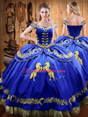 Graceful Royal Blue Satin and Organza Lace Up Off The Shoulder Sleeveless Floor Length Quinceanera Gown Beading and Embroidery