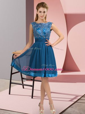 Eye-catching Blue Scoop Backless Appliques Party Dress for Toddlers Sleeveless