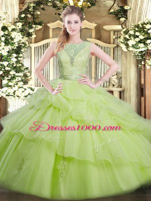 Yellow Green Scoop Backless Beading and Ruffled Layers Quinceanera Dresses Sleeveless