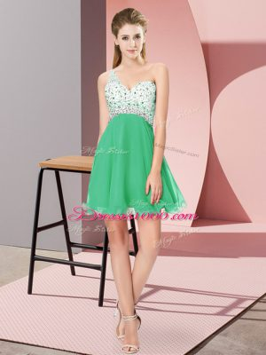 Extravagant Turquoise Custom Made Prom and Party with Beading One Shoulder Sleeveless Criss Cross