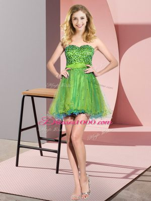 Amazing Multi-color Sweetheart Lace Up Beading and Sequins Dama Dress for Quinceanera Sleeveless