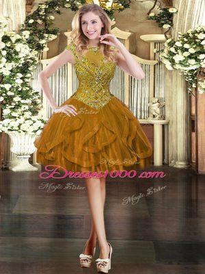 Fantastic Brown Zipper Juniors Party Dress Beading and Ruffles Cap Sleeves Mini Length