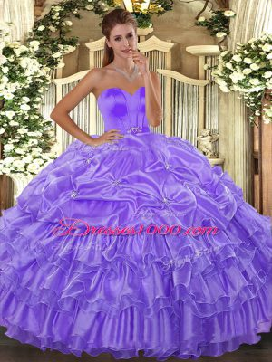 Dramatic Lavender Organza Lace Up Sweetheart Sleeveless Floor Length Ball Gown Prom Dress Beading and Ruffled Layers