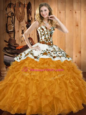 New Arrival Gold Ball Gowns Satin and Organza Sweetheart Sleeveless Embroidery and Ruffles Floor Length Lace Up Sweet 16 Dress