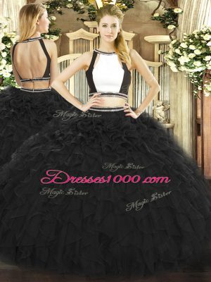 Black Tulle Backless Halter Top Sleeveless Floor Length Quinceanera Dress Ruffles