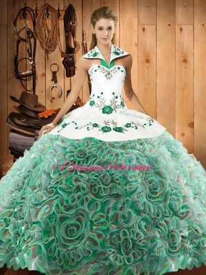 Dazzling Sleeveless Sweep Train Lace Up Embroidery Sweet 16 Quinceanera Dress