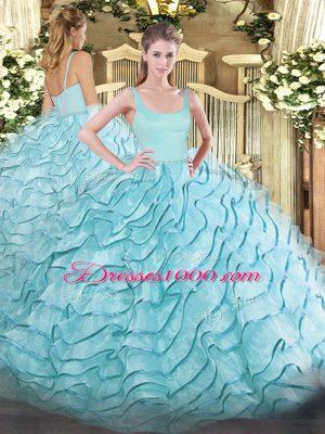 New Arrival Straps Sleeveless Organza Sweet 16 Dress Ruffled Layers Brush Train Zipper