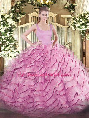 Ball Gowns Sleeveless Rose Pink Quinceanera Dress Brush Train Zipper
