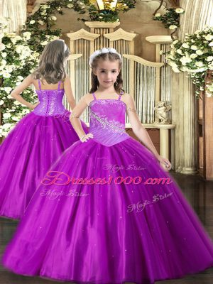 Gorgeous Straps Sleeveless Tulle Winning Pageant Gowns Beading Lace Up