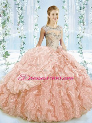 Decent Peach Sweet 16 Quinceanera Dress Sweet 16 and Quinceanera with Beading and Ruffles Sweetheart Sleeveless Brush Train Lace Up