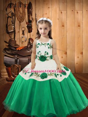 Turquoise Organza Lace Up Straps Sleeveless Floor Length Little Girl Pageant Dress Embroidery