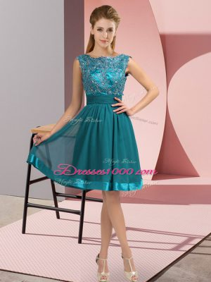 Appliques Prom Dresses Teal Backless Sleeveless Knee Length