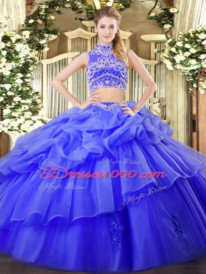 Blue Ball Gowns Tulle High-neck Sleeveless Beading and Ruffles and Pick Ups Floor Length Backless Quinceanera Gowns