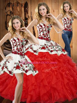 Fine Tulle Sweetheart Sleeveless Lace Up Embroidery and Ruffles Quinceanera Gowns in Red