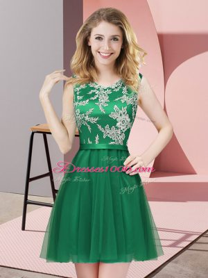 Scoop Sleeveless Court Dresses for Sweet 16 Mini Length Lace Dark Green Tulle