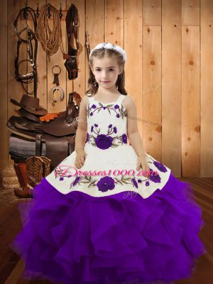 Purple Ball Gowns Tulle Straps Sleeveless Embroidery and Ruffles Floor Length Lace Up Party Dress for Toddlers