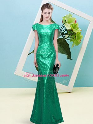 Cheap Floor Length Turquoise Dress for Prom Sequined Cap Sleeves Sequins