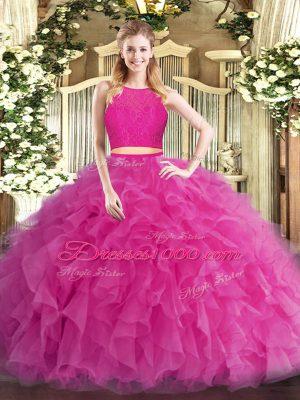 Hot Pink Sleeveless Floor Length Ruffles Zipper 15 Quinceanera Dress