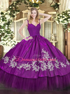 Luxury V-neck Sleeveless Backless Quinceanera Gowns Fuchsia Taffeta