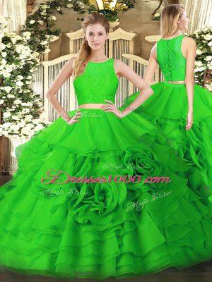 Custom Fit Green Two Pieces Ruffles 15 Quinceanera Dress Zipper Tulle Sleeveless Floor Length