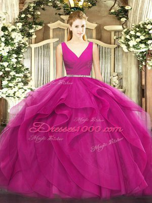 Fuchsia Sleeveless Floor Length Beading and Ruffles Zipper Quinceanera Gowns