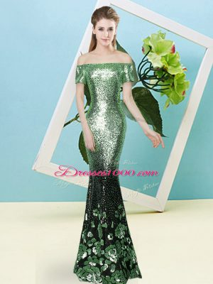 On Sale Sequined Off The Shoulder Short Sleeves Zipper Sequins Casual Dresses in Apple Green