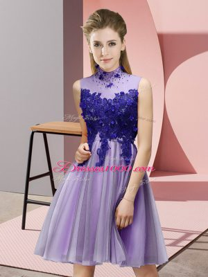 Spectacular Lavender Wedding Party Dress Prom and Party and Wedding Party with Appliques High-neck Sleeveless Lace Up