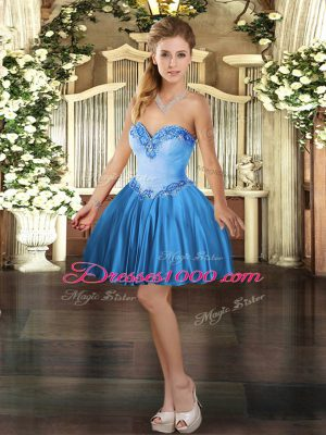 Classical Baby Blue Sleeveless Satin Lace Up Party Dress Wholesale for Prom and Party