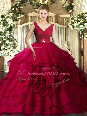 Exquisite Coral Red Sleeveless Organza Backless Sweet 16 Dresses for Sweet 16 and Quinceanera