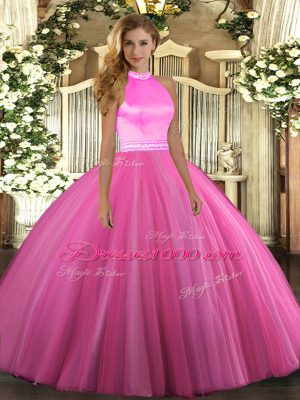 Beading Vestidos de Quinceanera Rose Pink Backless Sleeveless Floor Length