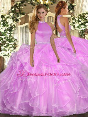 Beautiful Sleeveless Beading and Ruffles Backless 15th Birthday Dress