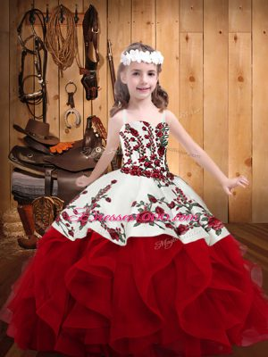 Hot Selling Embroidery and Ruffles Little Girls Pageant Dress Wholesale Red Lace Up Sleeveless Floor Length