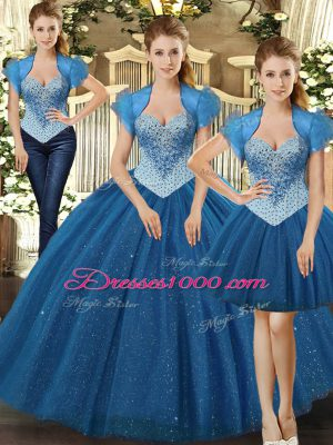 Most Popular Teal Tulle Lace Up Quinceanera Gown Sleeveless Floor Length Beading
