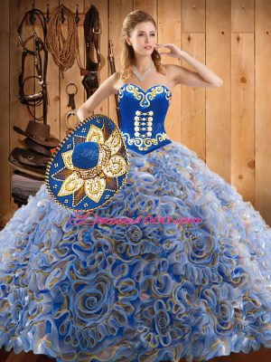 Sleeveless With Train Embroidery Lace Up Quinceanera Dresses with Multi-color Sweep Train